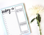Seafoam Hourly Notepad Day Planner, Deskpad, 8.5x11in