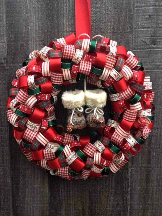 Items similar to ribbon wreath country theme christmas Country christmas gifts to make