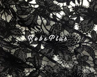 Floral Black Lace fabric - Floral White Lace fabric - Floral Black Lace - White Floral Lace - Black Floral Lace Fabric-L20