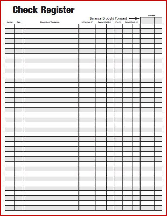 Free Printable Checkbook Register Pdf