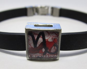 The Goat Capricorn Zodiac Sign Link With Choice Of Colored Band Charm Bracelet
