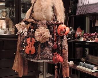 Upcycled Purse,Upcycled Bag,Spirit Rattle Bag,Spirit Music Bag,Vintage Purses and Bags,Tamborine,Tamborine Bag,One of a kind Purse,Music Bag