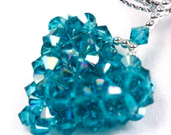 Woven Swarovski Heart Pendant Teal, Blue Zircon AB, with chain, high sparkles, handmade necklace, Blue Swarovski Necklace