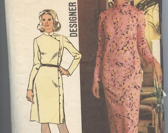 1970s Dress Pattern Simplicity 5321 Evening Dress Slit Front Loop Closure Vintage Womens Sewing Patterns Size 14