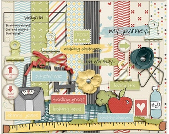 Digital Scrapbooking Page Kit for diet, weight loss, exercise - New You Digital Kit - INSTANT DOWNLOAD