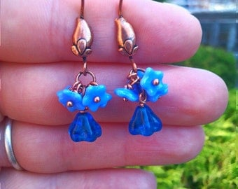 FREE USA SHIPPING -  Blue Floral Glass Dangle Earrings on Copper Hooks - Cobalt, Lavender, Sky Blue - Whimsical, Childlike Jewelry