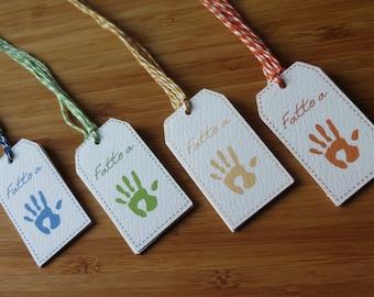"20 tags ""handmade"" mixed colors"