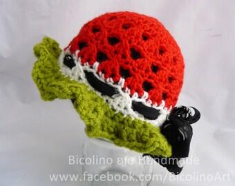 Watermelon crochet baby hat