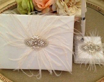 Wedding Guest Book - Ivory Bridal Guest Book - Rhinestone and Feather Guest Book and Pen Set