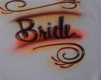 Bride & groom custom airbrushed t-shirts