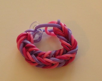 Fishtail Rubber band ring or American Girl Doll Bracelet  By Brittani pinks and purple or Custome colors Latex Free