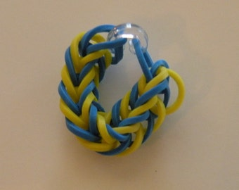 Fishtail Rubber band ring or American Girl Doll Bracelet  By Brittani blue and yellow or Custome colors Latex Free