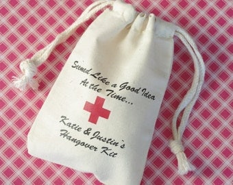 "Hangover Kit Cotton Muslin Bag, Personalized Favor Bag, Wedding Favor Size 3""x4"" and 4""x6"""