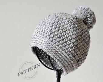 CROCHET PATTERN - Pom-Pom Beanie, Crochet Pom-Pom Hat, Easy Crochet (Newborn to Adult Sizes) Instant Download pdf #023H