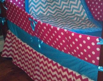 SALE***Hot pink polka dot/chevron and turquoise/aqua chevron crib bedding set