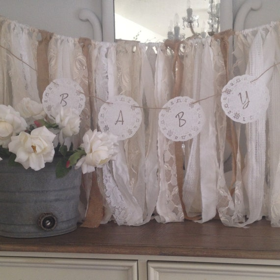 Vintage Baby Shower Doily Banner French By DenaDanielleDesigns