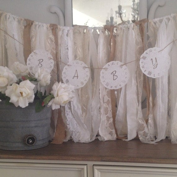 Vintage baby shower doily banner french by denadanielledesigns for Baby shower function decoration