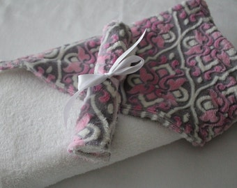 Baby, Infant Hooded Towel, Mar Bella Valencia in Sofia - Sophia Pink, Terrycloth, Minky with Coordinating Washcloth