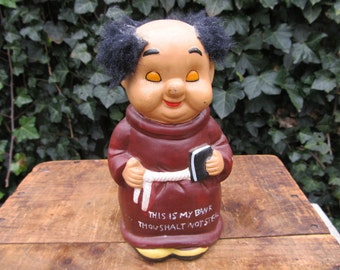 Vintage Ceramic Monk Bank - Thou Shalt Not Steal - Kitschy Monk Friar Bank