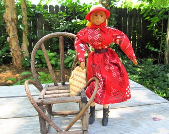 Vintage Hickory Nut Doll - Ozark Folk Art Doll and Her Favorite Seat
