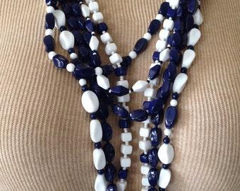 Vintage Navy Blue & White Glass Bead Necklace - Single Strand