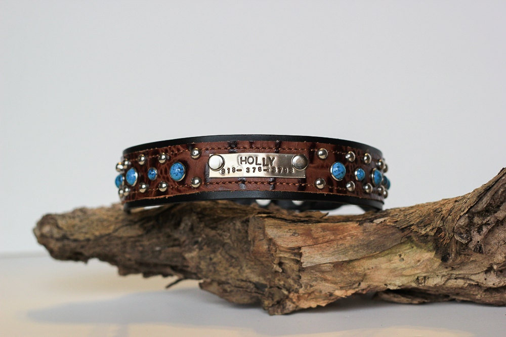 CUSTOM Leather Dog Collar // Name Plate and by JandBCustomLeather ...