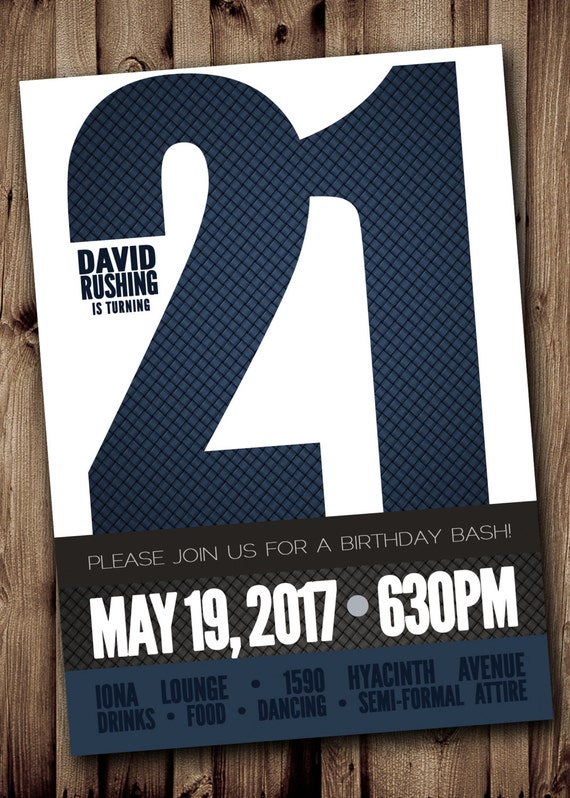 21ST BIRTHDAY Party Invitation for Man Male Blue Silver