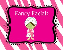 Pink and White Zebra Fancy Facials Station Sign Girls Spa Party