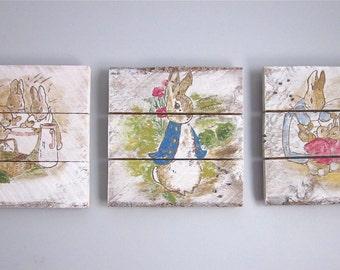 Peter Rabbit Nursery Set - Handpainted Wood Signs