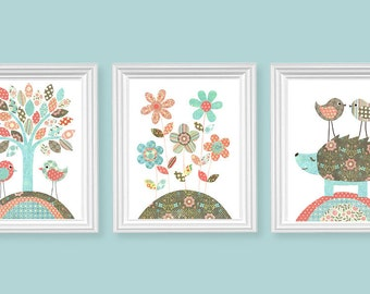 Woodland Nursery Art, Bird Art Prints, Hedgehog Nursery, Flower Nursery Decor, Baby Girl's Room Decor, Vintage Nursery, Nursery Wall Art