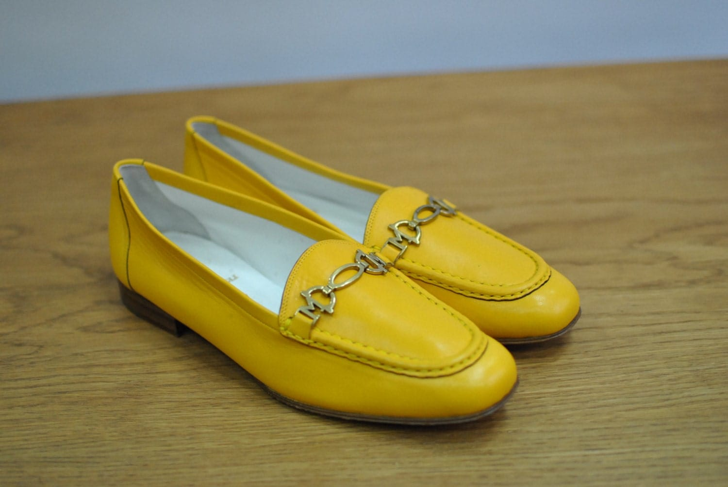 vintage bruno magli leather shoes yellow leather