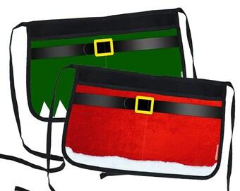 Christmas Themed Two-Pocket Waitress Half Apron