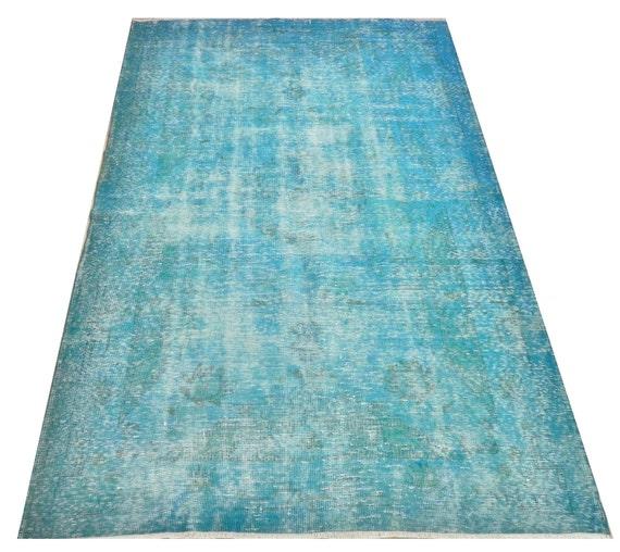 items similar to ft 166x258 cm blue color vintage overdyed handmade turkish rug wool. Black Bedroom Furniture Sets. Home Design Ideas