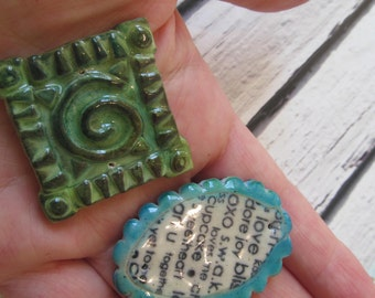 Handmade 2 polymer clay faux ceramic  beads -  pendants  made by Hilla