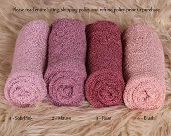 Newborn Stretch Knit Wrap - Photo Prop - PINKS