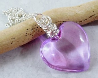 Lavender Purple Glass Puffy Heart Necklace