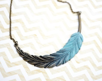 50% Off SALE Necklace, Turquoise ombre feather necklace.