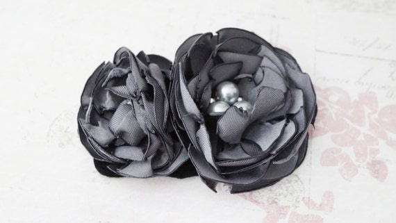 20% off Sale! Hair clip, grey satin and pearl flower fascinator No. H60