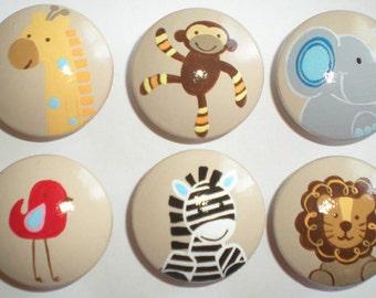 Hand Painted Wild Jungle Animals Drawer Knobs Nursery Cabinet Pulls