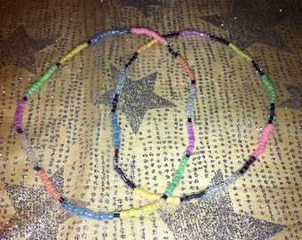 """9 1/2"""" Multicolor Seed Beed Stretch Anklets, Sets of 2"""
