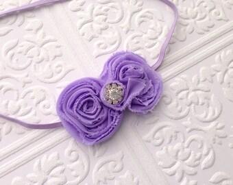 The Lavender Shabby Bow Headband or Hair Clip
