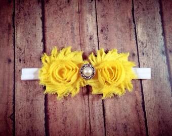 Yellow Shabby Flower Headband w/ Embellishment