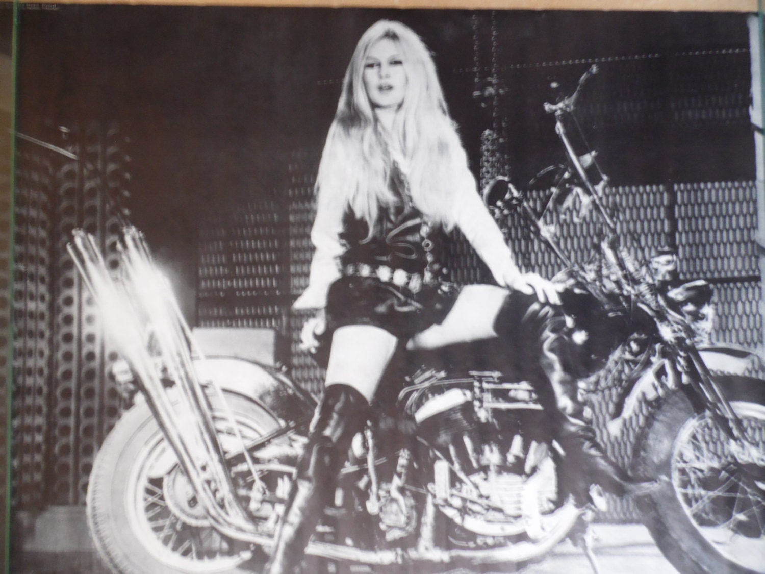Brigitte Bardot On Motorcycle Black And White Poster