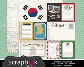 South Korea Journal Cards. Digital Scrapbooking. Project Life. Instant Download.