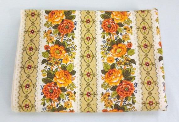Vintage Orange Floral Fabric Yardage By The Yard by
