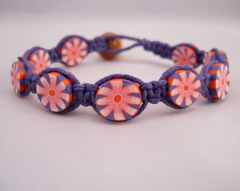 Blue Hemp Bracelet w/ Blue & Pink Flower Beads