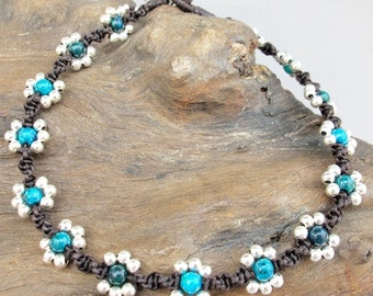 Summer Flower Ankle Bracelet- 4mm Chrysocolla Bead Woven Flower Anklet with Silver Color Bead