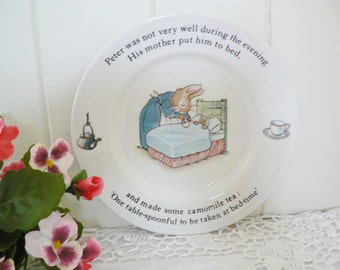 Beatrix Potter vintage 1990's  Peter Rabbit plate, Childs gift, baby keepsake, Beatrix Potter china, Peter Rabbit