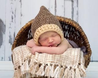 Pixie Bonnett, Baby Boy Pixie Elf Hat,  baby boy hat, baby boy knit hat  Any Size Newborn Hat Photo Prop