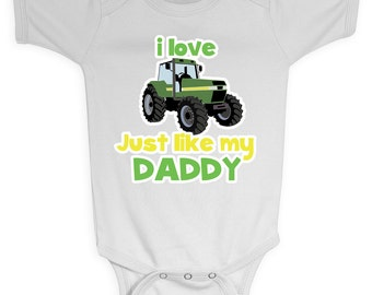 """Green Tractor Farm Onesie """"Just like Daddy"""" Design, Custom Made to Order from Mary and Peanut Kids FREE SHIPPING"""
